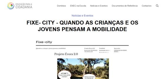 FIXE- CITY divulgado na página EDUCAÇÃO PARA A CIDADANIA